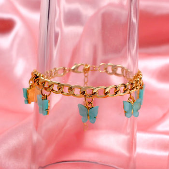 New Korean Cute Butterfly Bracelets for Women Gold Silver Color Insect Wide Bracelet 2020 Fashion Statement Jewelry Party Gifts
