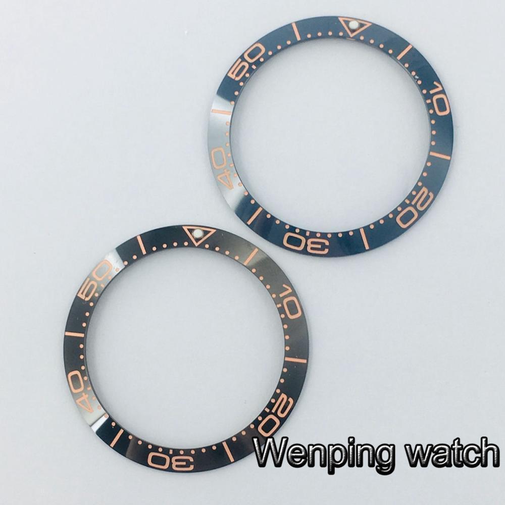 38mm high quality black deep blue watch ceramic bezel insert Fit 40mm mens watches
