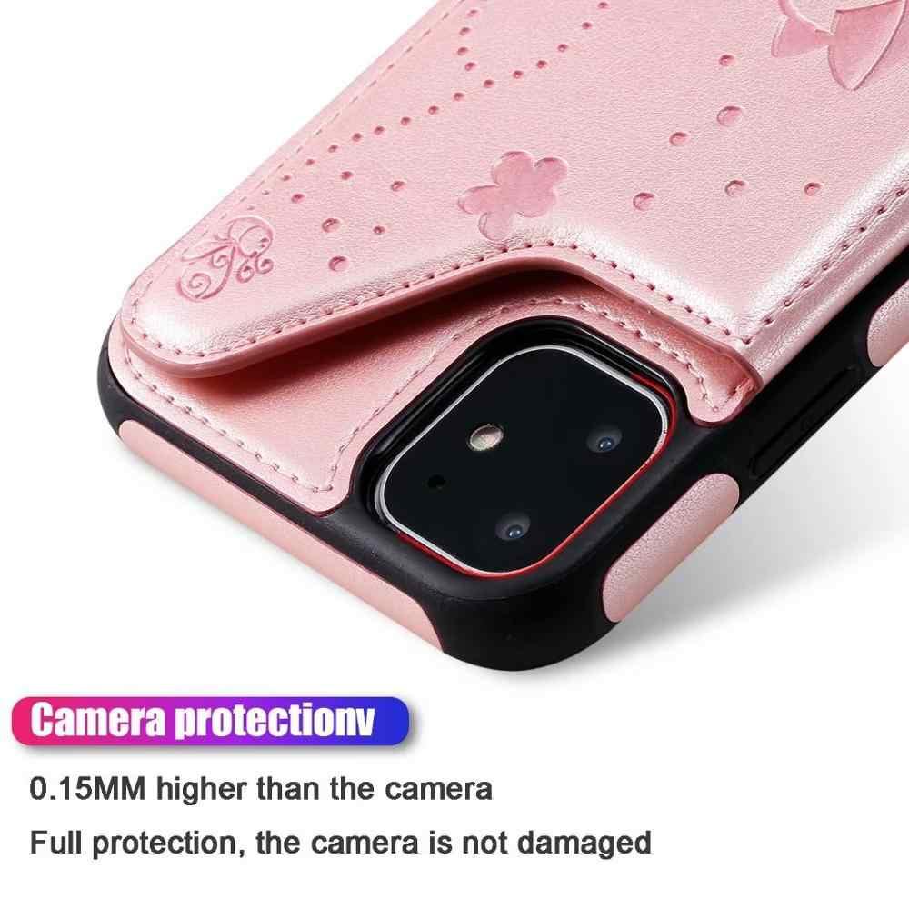 עבור iPhone 11 ארנק מקרה כרטיס חריצים מחזיק Flip עור מפוצל מובלט חתול Kickstand מקרה מגנטי אבזם כיסוי עבור iPhone 11 פרו