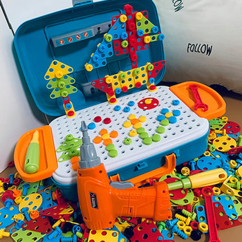Kids Drill Toy Creative Educational Electric Simulation Tool Screws Puzzle Assembled Design Building Block Boy Pretend Play Gift 54pcs diy flower building block toy garden building toys educational creative playset pretend toy for kids