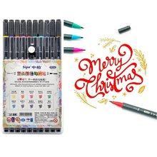 10 pçs linha fina dupla headed desenho caneta multi cor escova arte marcador desenho lettering caligrafia pintura escola a6951
