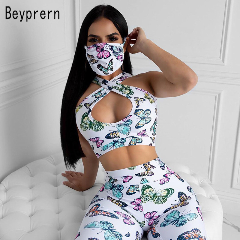 Beyprern Casual Butterfly Print Matching Set Two Piece Outfits Sexy Cut Out Crop Top And Legging Set Gym Clothes Sportywear