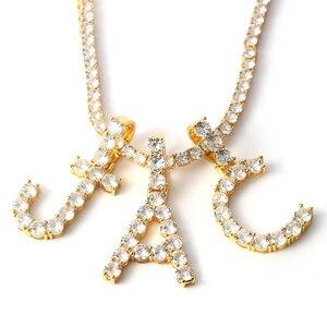 Image 1 - Letters Pendants Necklaces Women Letter Initial Necklace Tennis Chain Zircon Hip Hop Bling jewelry Iced Out Alphabet Pendant