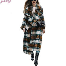 2019 New Women's Long Wool Trench Coat Fashion Fold Collar Plaid Loose Coat Jacket Belt Oversize Outerwear Overcoat(China)