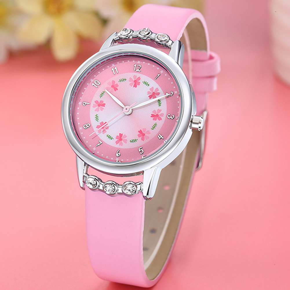 Girls Kids Watches Clock Fashion Rhinestone Flower Dial Watch Kids Leather Strap Arabic Number Quartz Watch Women Montre Enfant