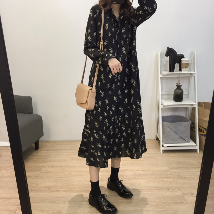 Temperament Retro Stand Collar Fresh Small Floral Loose Frill Chiffon Dress Women's Internal Bottoming Skirt