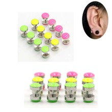 2Pcs Surgical Steel Cheater Faux Fake Ear Plugs Flesh Tunnel Gauges Tapers Stretcher Earring Piercing Jewelry 2pc white black stainless steel cheater faux fake ear plugs flesh tunnel gauges tapers stretcher earring