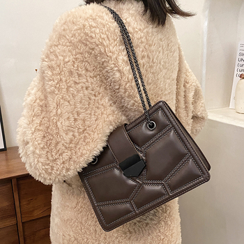 High Quality Women Pu Leather Shoulder Bag Fashion Chain Rivet Crossbody Bags for Women Designer Female Small Messenger Bags New image