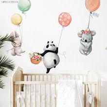 Autocollants muraux Kawaii en forme d'animaux mignons, Panda, lapin, Koala, avec Ballon, pour chambre à coucher, pour chambres d'enfants, décoration de la maison