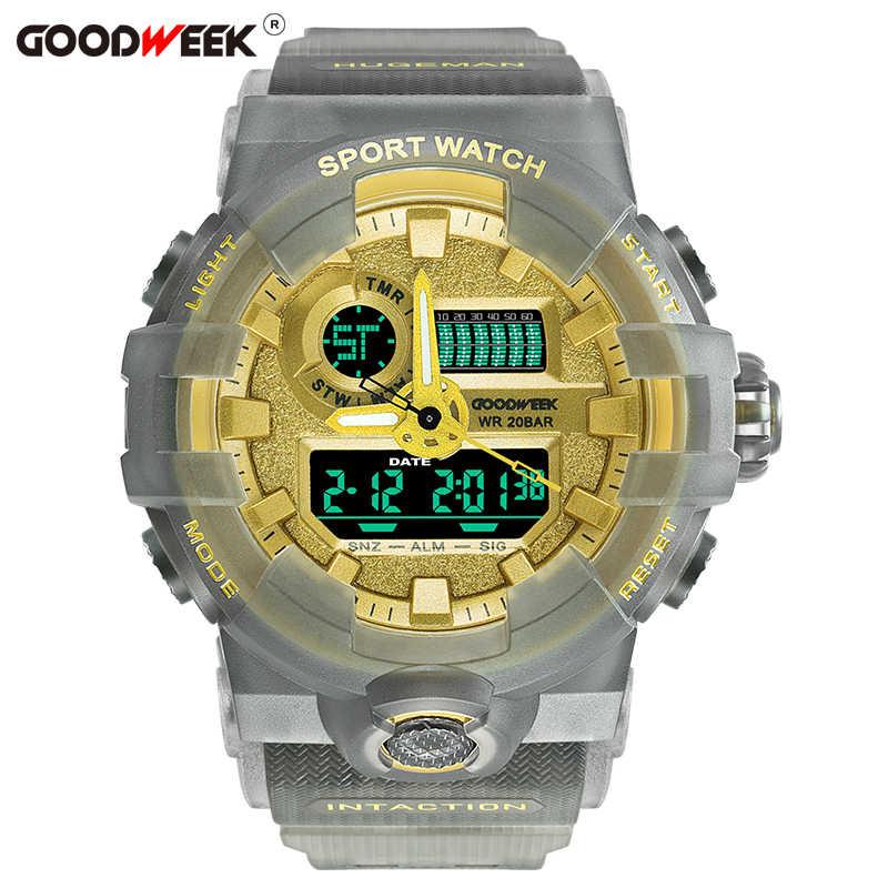Goodweek à prova dwaterproof água esporte relógios para homem analógico digital led relógio de quartzo multifuncional dupla exibição relógios reloj hombre