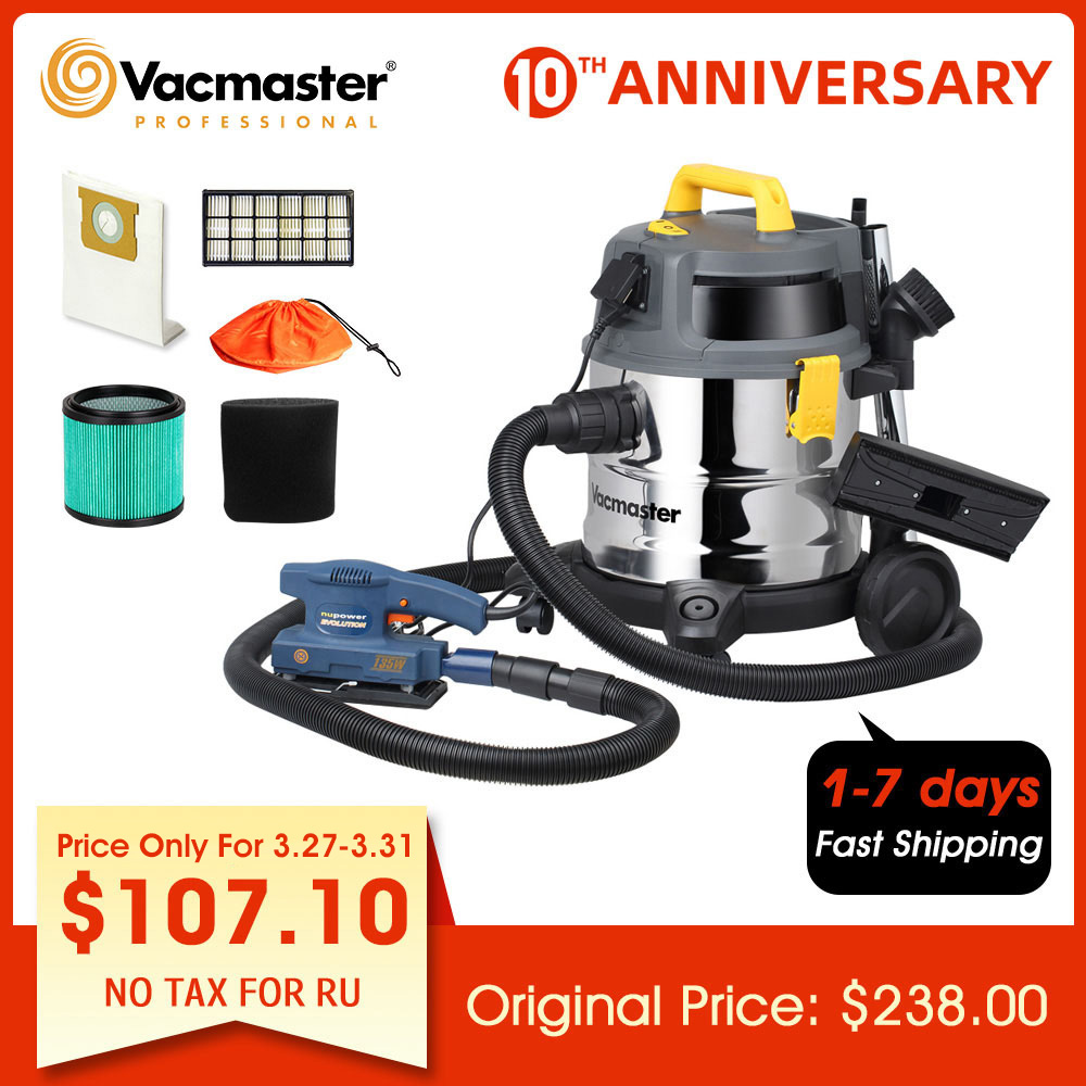 Vacmaster  Industrial Vacuum Cleaner HEPA 13  Powerful Wet Dry Vacuum Cleaner For Workshop Twin Fan Motor Stainless Steel Tank
