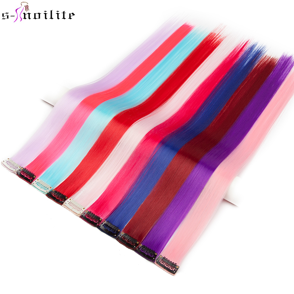 SNOILITE 22'' Long Straight Synthetic Clip In One Piece Hair Extension 55 Cm Pink Blue Purple Red Pure Color Fake Hairpieces
