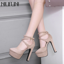 NIUFUNI 2020 Summer 13.5CM Ultra High Heels Women Sandals Fashion Thick Heel Pla
