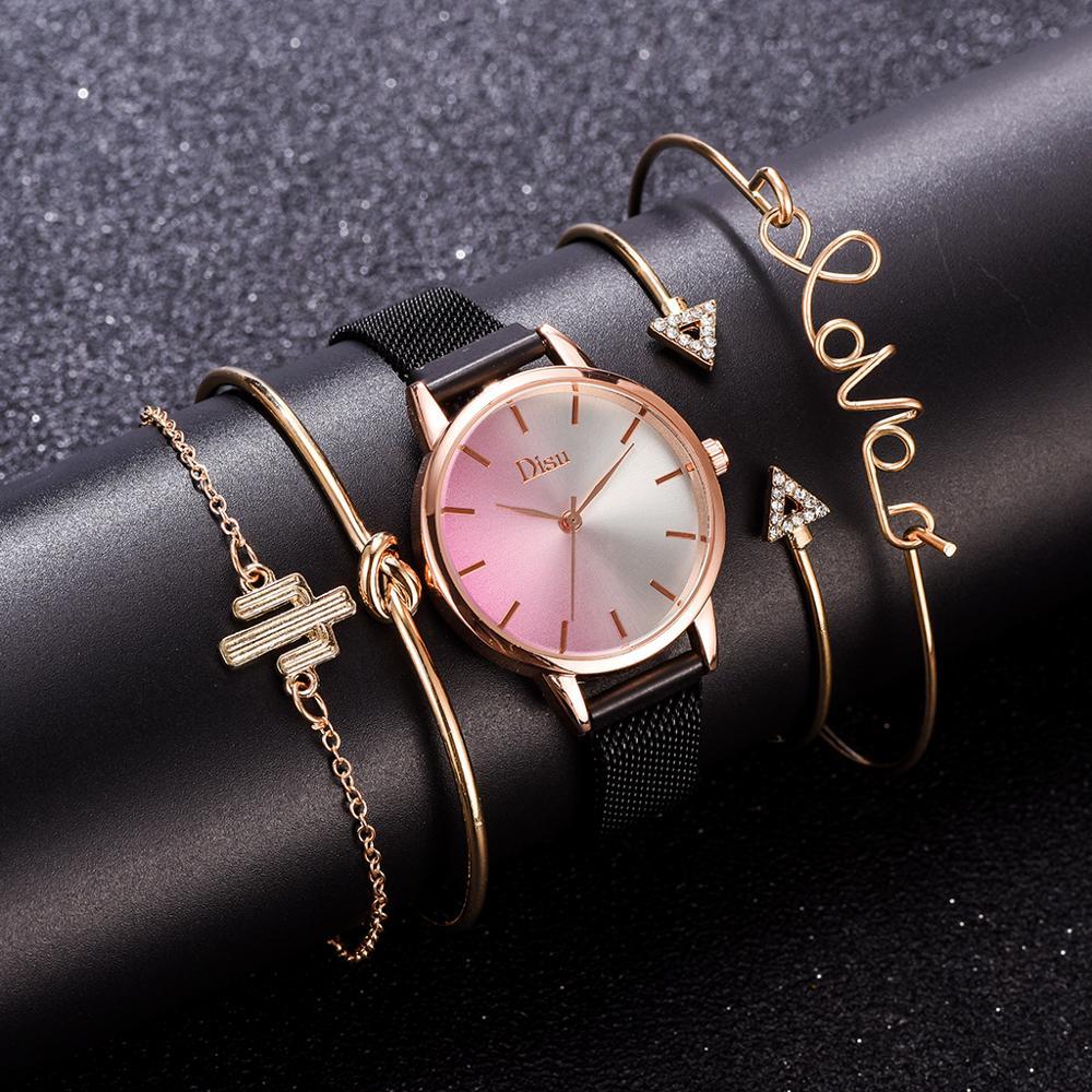 Fashion Top Brand 5pcs Set Watch And Bracelet Set Womens Colorful Dial Magnet Black Watch Dress Women Luxury Wristwatch Clock