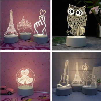 Creative USB 3D LED Night Lights Novelty Illusion Night Lamp 3D Illusion Table Lamp For Home Christmas Gift Decorative Light 3d led night light usb 3d luminous novelty lighting base table lamp home decor valentine s birthday christmas gifts