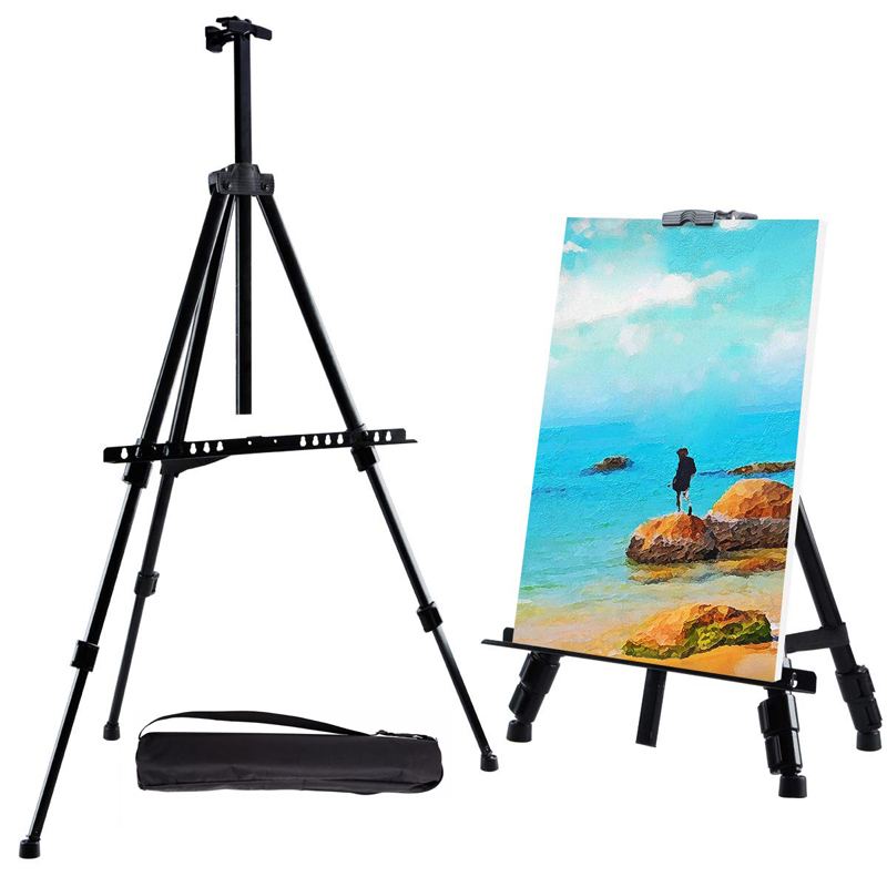 Portable Adjustable Metal Sketch Easel Stand Foldable Travel Easel Aluminum Alloy Easel Sketch Drawing For Artist Art Supplies image