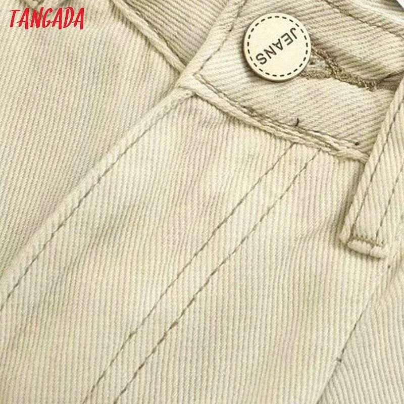 Tangada fashion women loose mom jeans long trousers pockets zipper loose streetwear female pants 4M58 49