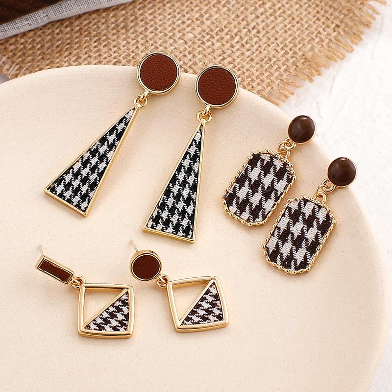 AENSOA Vintage Black White Plaid Cloth Geometric Drop Earrings For Women Alloy Lattice Fabric Statement Earring Trendy Jewelry