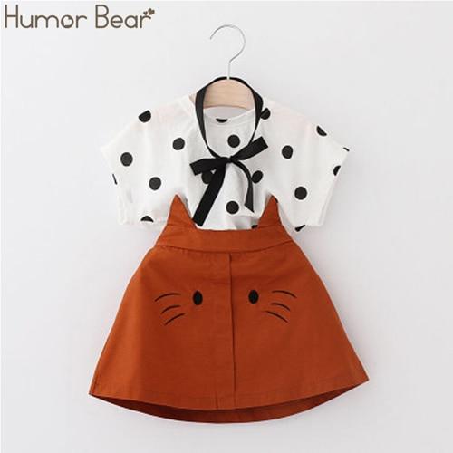 Hdc2b152faf25487da6a078572a2896efJ Humor Bear Girls Clothing Set 2020 Korean Summer New Ice Cream Bow T-shirt+Pants Kids Suit Toddler Baby Children's Clothes
