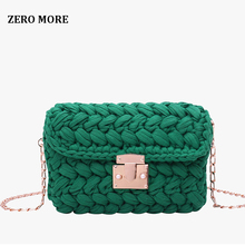ZERO MORE New Fashion Hot INS Woven Knitting Handbag Women Flaps Messenger Bag Cotton Fabric Handmade Plait Cover Shoulder Bag zero halliburton zest navy shoulder bag