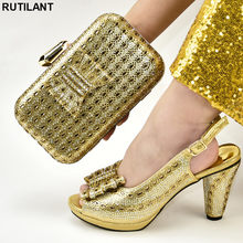 Latest Design Gold Color Italian Matching Shoe and Bag Set Rhinestone Gold Shoe and Bag Set Shoe and Bag Set for Party In Women(China)