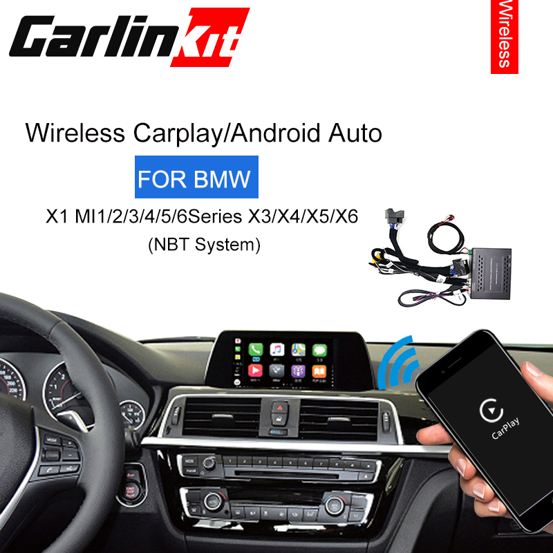 Apple carplay/android auto/mirrorlink/controle de voz/módulo modificado para bmw mini/x1/x3/x4/x5/x6 com sistema sem fio nbt