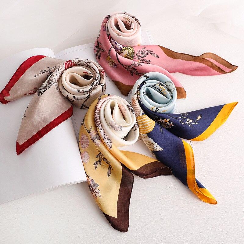 Fashion Kerchief Floral Print Silk Satin Hair Scarf For Women Small Bandana Head Scarfs 70*70cm Headband Neck Scarves For Ladies