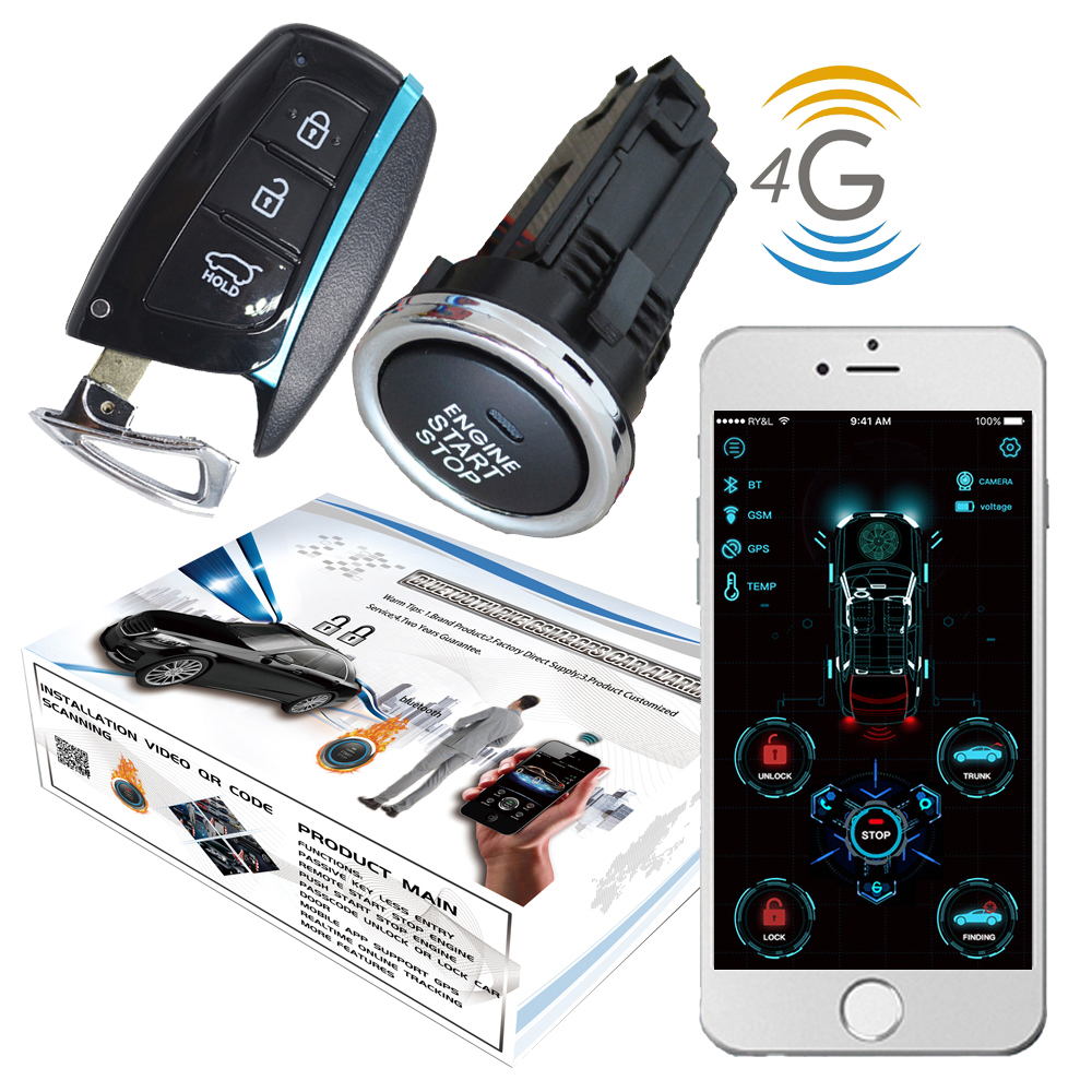 2020 Year Cardot 4g GPS GSM Remote Start Engine Smart Passive Keyless Entry Car Alarm System