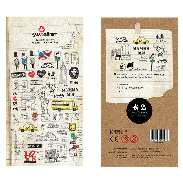 Декоративные Канцелярские наклейки в Нью-Йоркском уголке Sonia Journal, скрапбукинг, сделай сам, дневник, альбом, этикетка