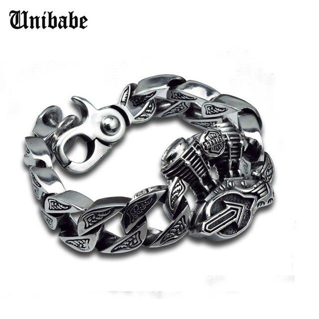 Chain & Link Bracelets Sterling 925 Silver Jewelry Thai Silver Man Male hip hop Motor Engine Big Thick Cross S925 Bracelet