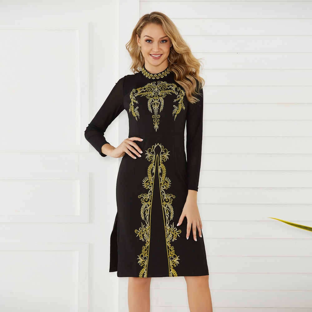 BacklakeGirls 2019 Elegant Knee Length High Neck Long Sleeve Black Applique Dress Vestidos De Fiesta De Noche