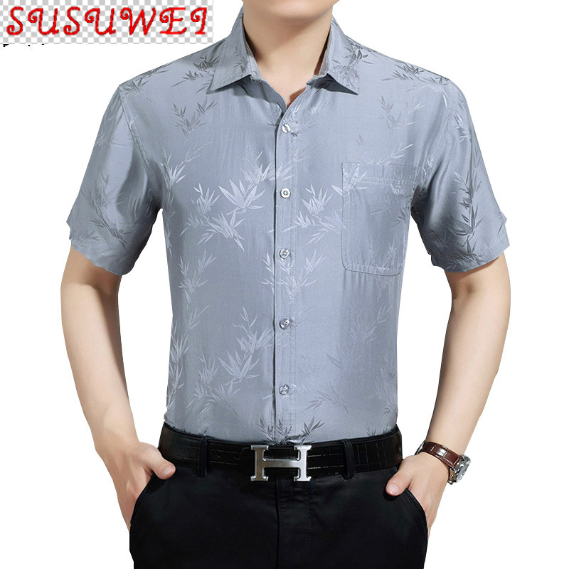 SUSUWEI 100% Silk Shirt Men Casual Summer Shirts for Men Clothes 2021 Short Sleeve White Shirt Chemise Homme 3022 KJ4553