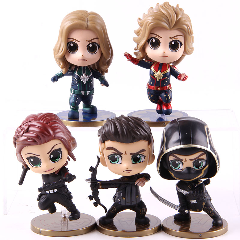 Marvel Avengers Endgame Captain Marvel Carol Danvers Ronin Hawkeye Black Widow Doll PVC Action Figure Collectible Toys 5pcs/set