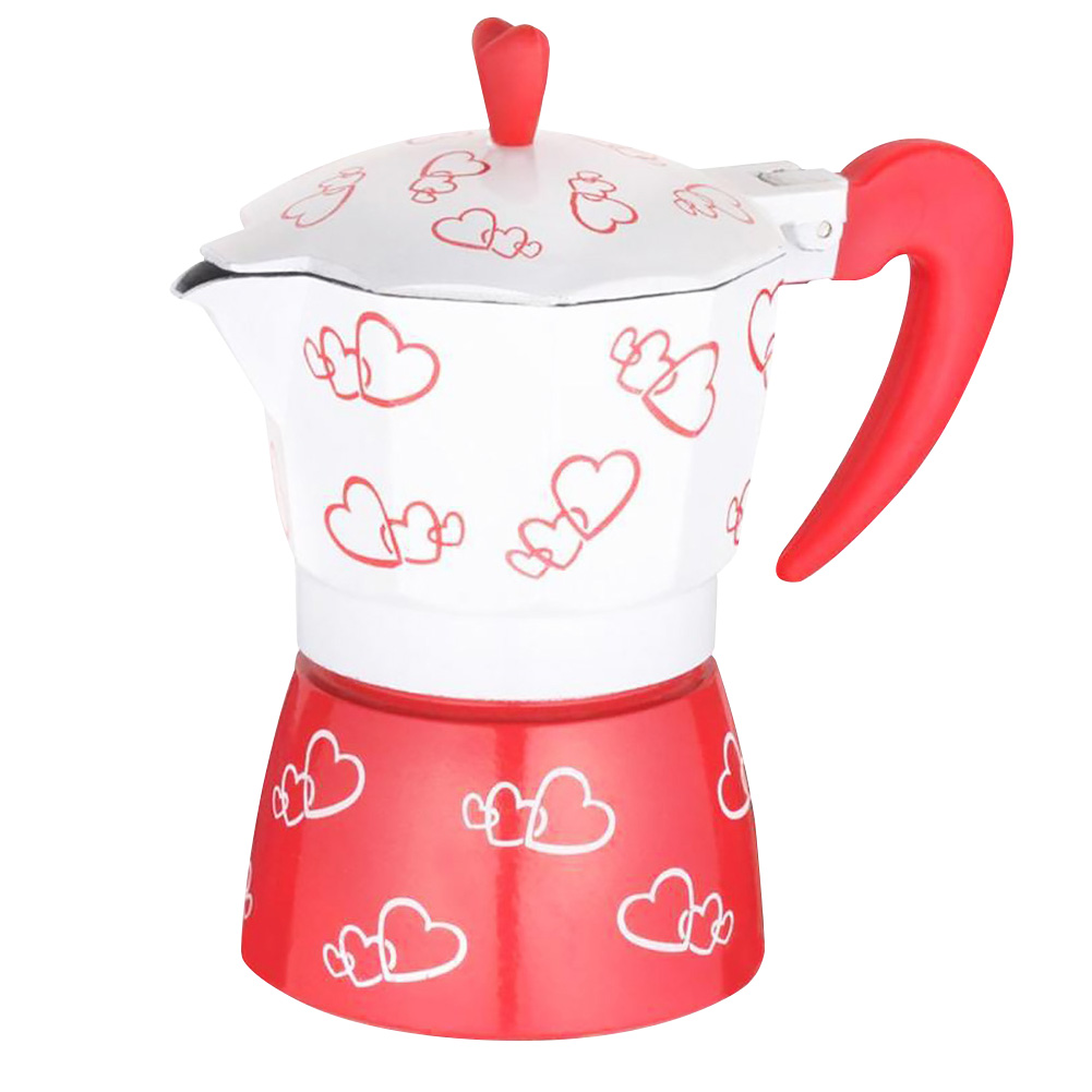 Coffee Maker With Handle Filters Red Heart Printed Cafetiere Home Stove Percolator Pot Boiling Aluminum Alloy Romantic Manual|Coffee Pots| |  - title=