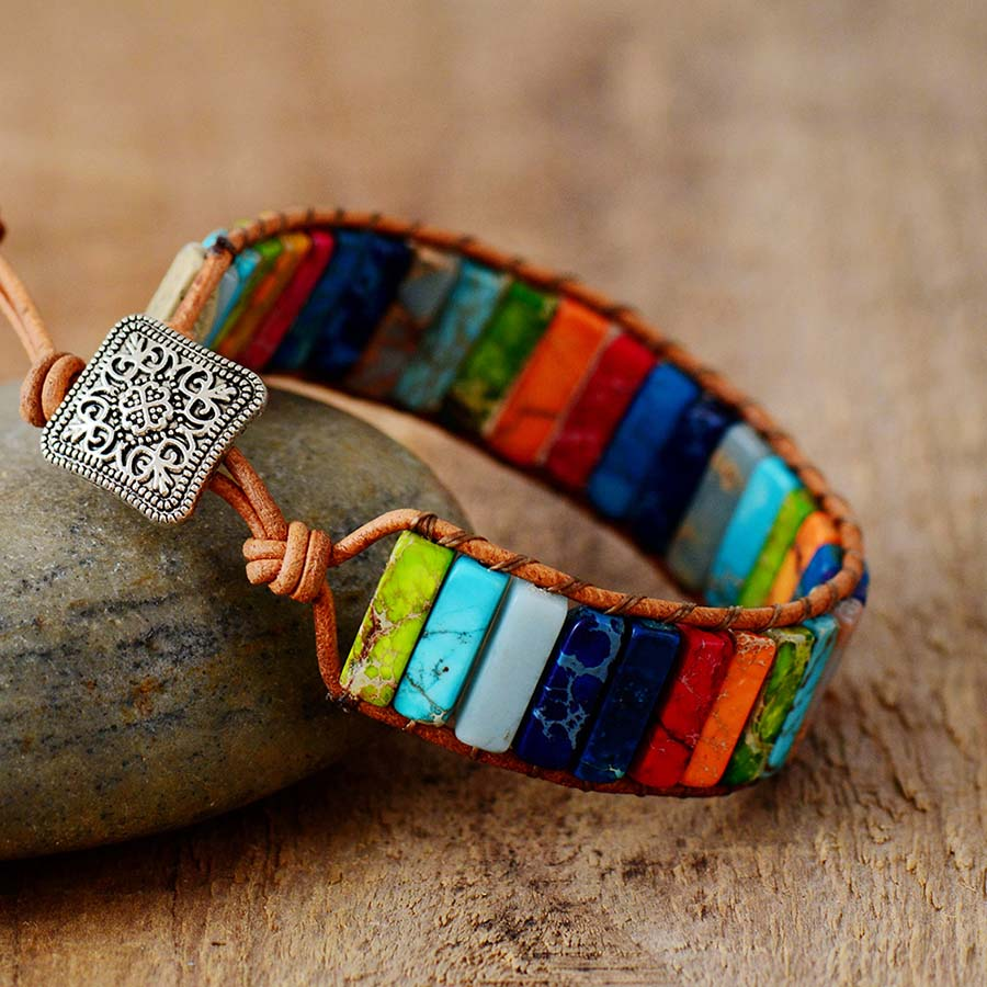 Chakra Bracelet Jewelry Handmade Multi Color Natural Stone Tube Beads Leather Wrap Bracelet Couples Bracelets Gifts
