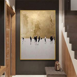Home Decoration wall paintings 100% Hand painted Modern Abstract canvas Paintings Abstract gold Oil Painting picture Living Room(China)