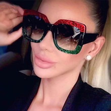 Colorful Big Box Sunglasses European And American Trend Glitter Women Personality Retro Female
