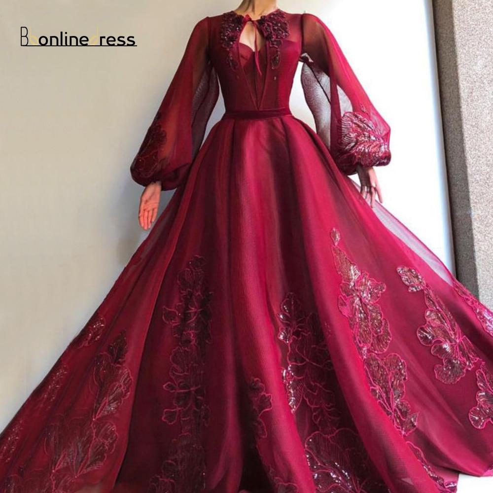 Brugundy Evening Dress Full Sleeve Evening Dresses Long Hand-Beaded Dubai Muslim Style Party Dress Elegant Formal Gowns Vestidos