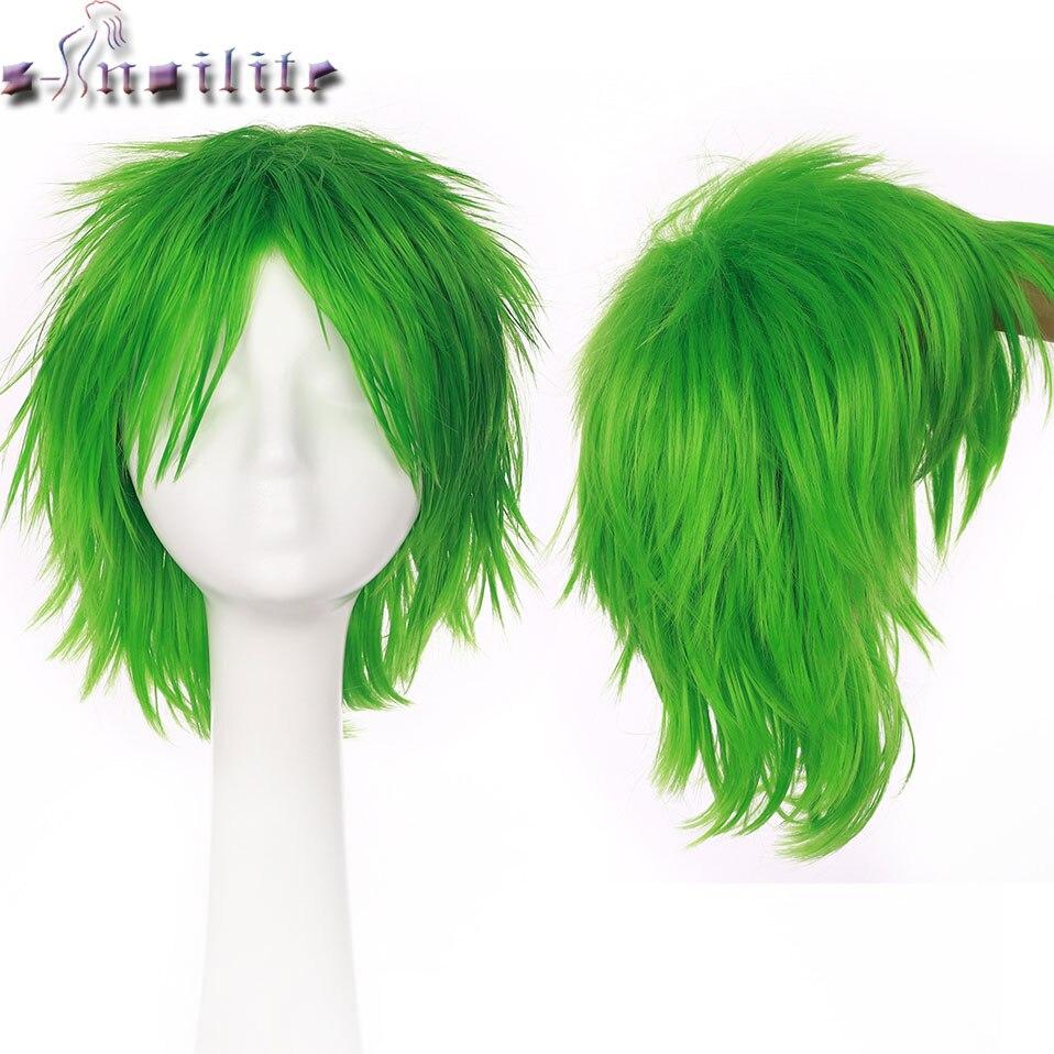 S-noilite Synthetic Women Men Short Hair Wig Cosplay Wig Fancy Dress Head Wigs Black Blue Purple Green Yellow Pink Anime Wig