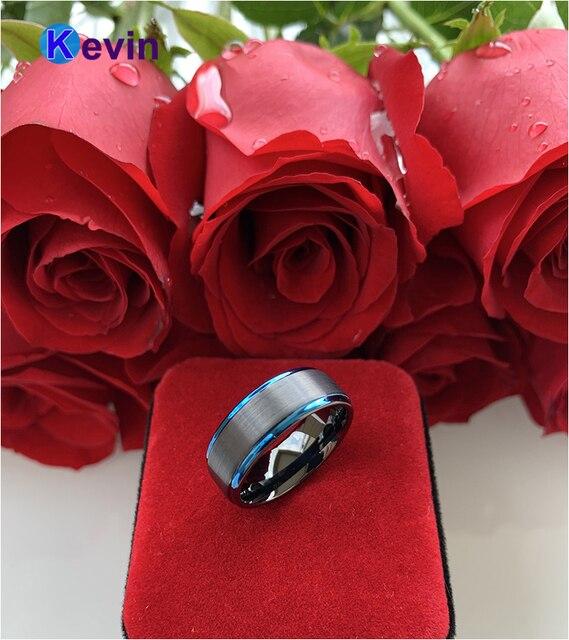 Фото мужские черные вольфрамовые кольца обручальные для женщин с