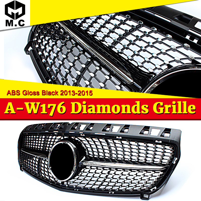 W176 Diamond Grills Grill ABS Gloss Black Without Sign Front Bumper Grille For A-Class A180 A200 A250 A45 13-15