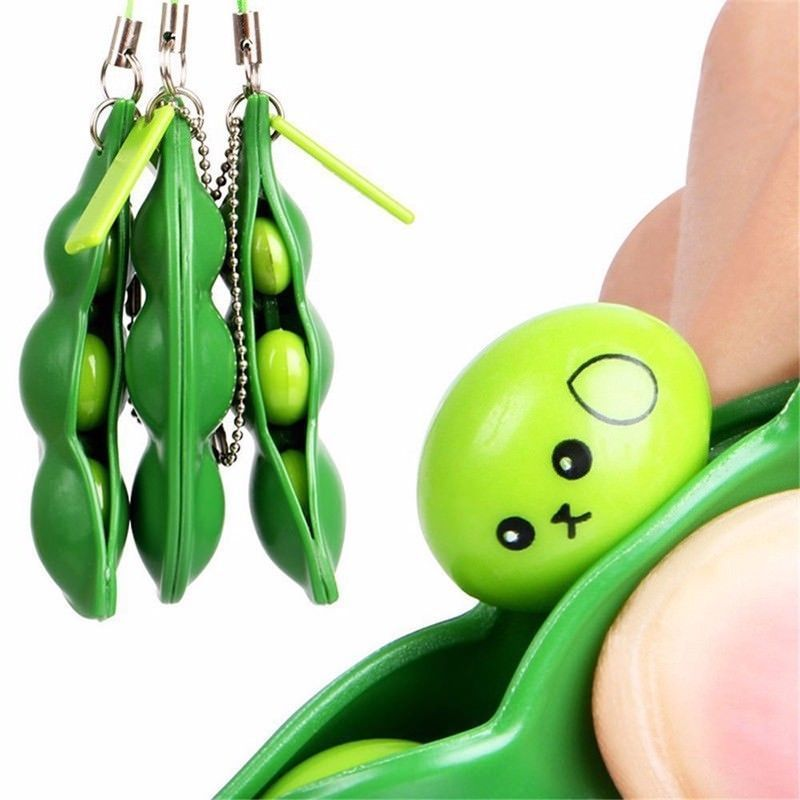 Green Soybean Pea Squeeze Bean Keychain Charm Stress Relieve Funny Extrusion Toy Trinkets Christmas Cute
