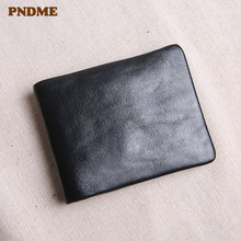 цена на Simple casual genuine leather men's small wallet casual vintage soft real cowhide youth black thin multi-card holder coin purse