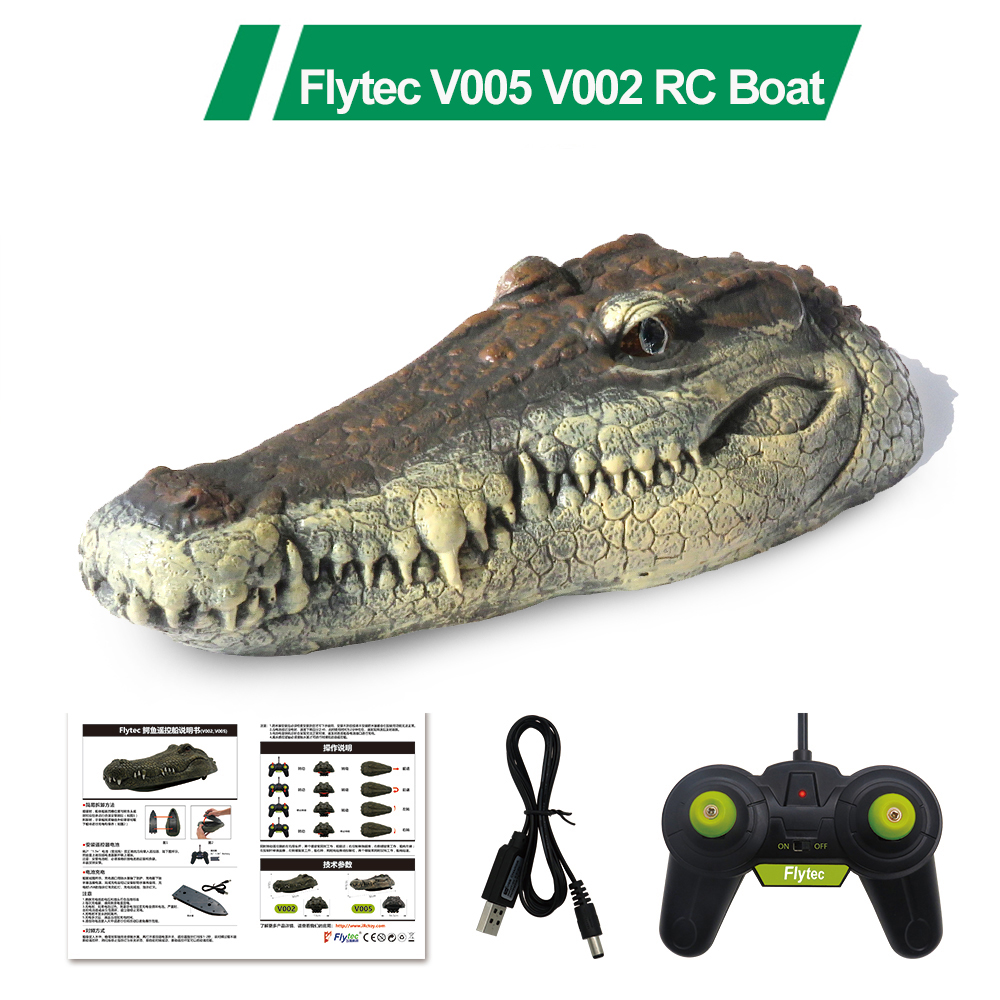 Flytec V005 V002 RC Boat 2.4G Simulation Crocodile Head RC Remote Control Electric Racing Boat for Adult Pools Head Spoof Toy(China)