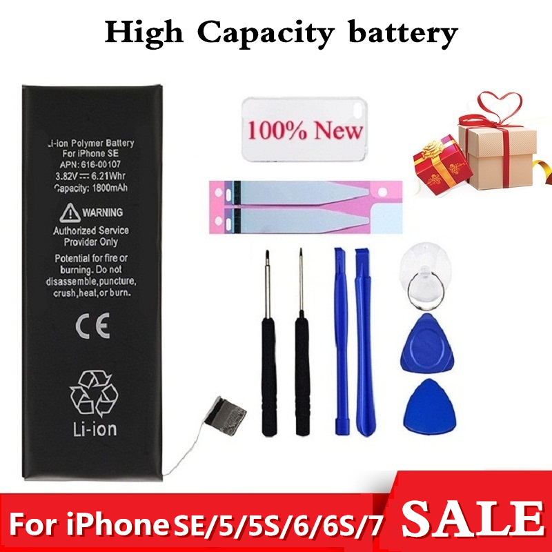 Orignial Mobile Phone Battery For IPhone 6S 6 5 SE 5S 7 Replacement Batterie 0 Cycle Battery For IPhone 6S Tool Sticker Case