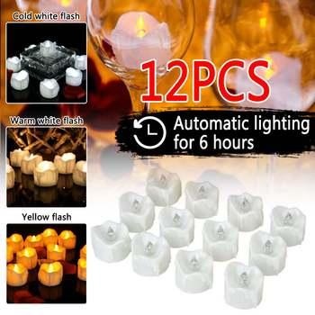 12 Pack LED bezpłomieniowy automatyczny pomiar czasu LED Tea Light atrapa płomienia wotywny zegar Tealight strona główna świąteczna dekoracja na święto dziękczynienia tanie i dobre opinie Home decoration LED+PP Świeca lampy Nieregularne
