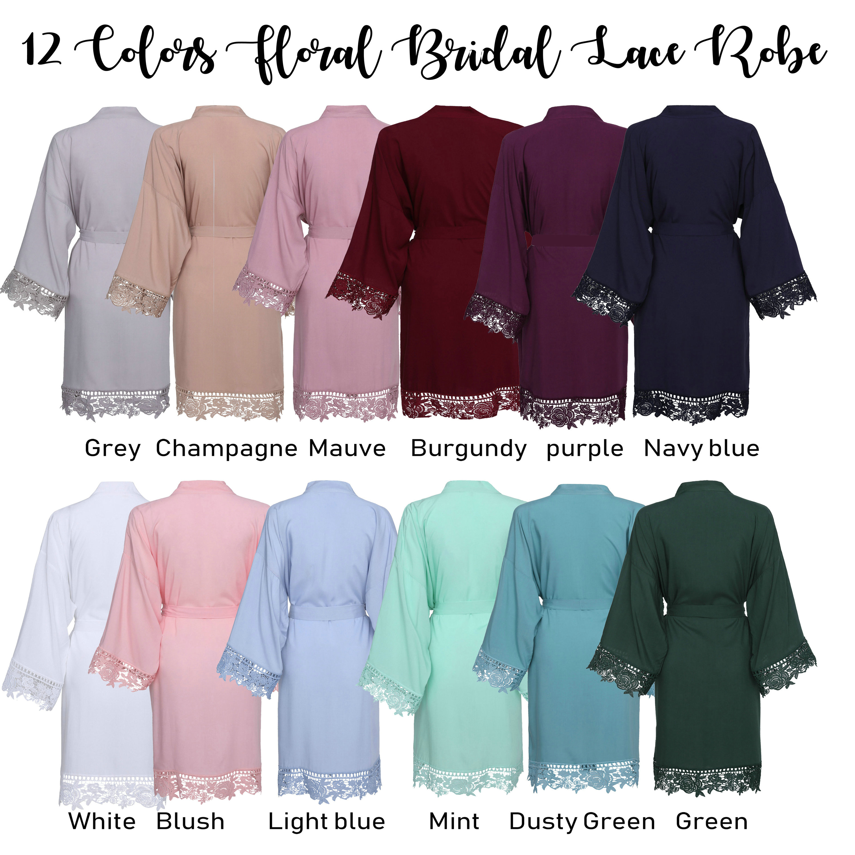 YUXINBRIDAL Women Wedding Bride Robes Rayon Cotton Robes With Lace Trim Kimono Bridal Robes Bridesmaid Robes Bathrobe Sleepwear