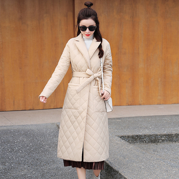 2021 Casual sashes women parkas Long straight winter coat with rhombus pattern Deep pockets tailored collar stylish outerwear 1