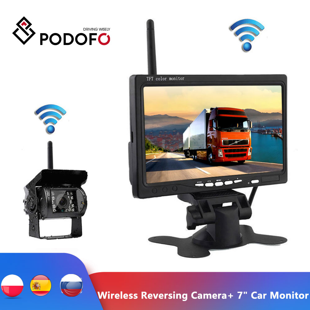 Podofo Wireless Reverse Reversing Camera 7inch HD TFT LCD Car Monitor for Truck Bus Caravan RV Van Trailer Vehicle Rear View Camera