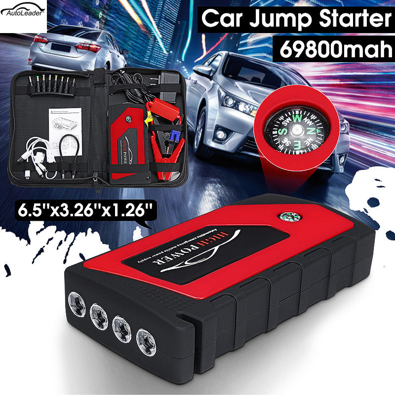 Car Jump Starter Emergency Starting Device 4USB 69800mAh 12V LED Light Mobile Power Bank Car Charger Battery Booster